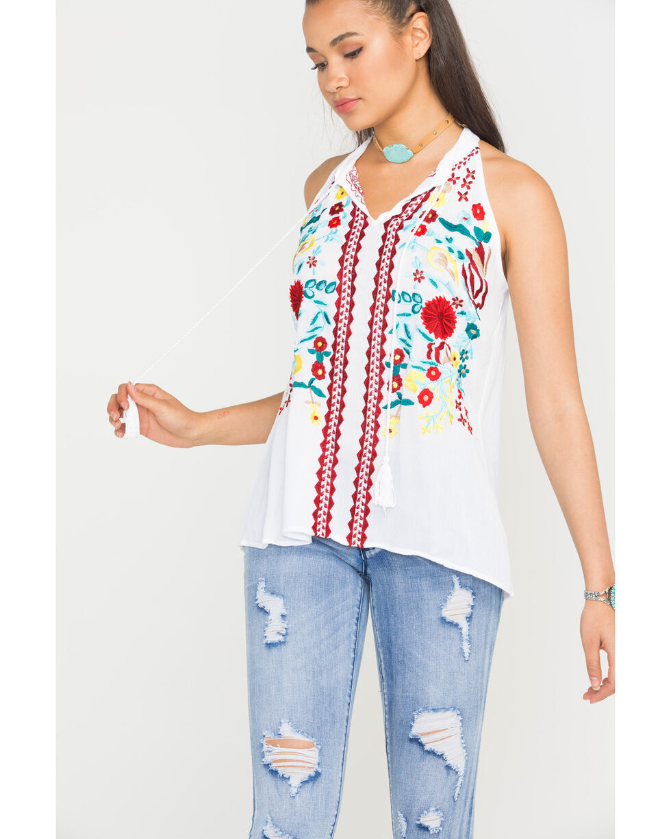 Scully Women's Honey Creek Embroidered Tassel Tank, White, hi-res