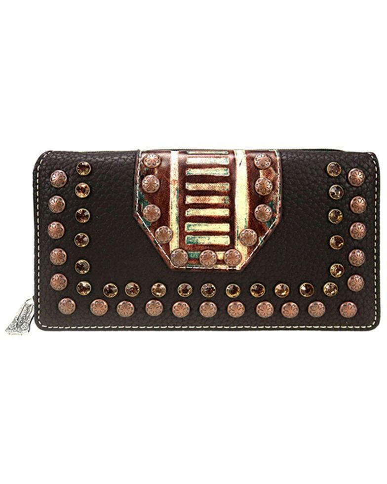 Trinity Ranch Women's Black Studs Wallet, Dark Brown, hi-res