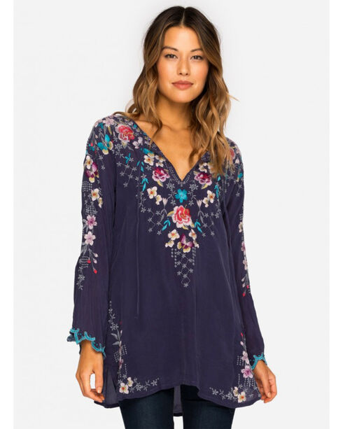 Johnny Was Women's Navy Butterfly Winter Blouse , Blue, hi-res