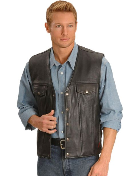 Milwaukee Motorcycle Gambler Leather Vest, Black, hi-res