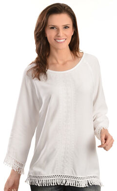 Red Ranch Women's Challis Embroidered Fringe Top, White, hi-res