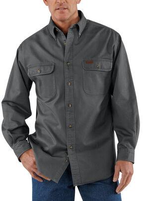 Carhartt Sandstone Twill Work Shirt - Big & Tall, Grey, hi-res