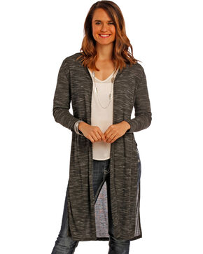 Panhandle Slim Women's Charcoal Venise Lace Cardigan , Charcoal Grey, hi-res