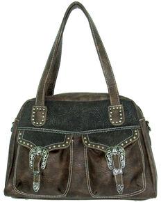 Savana Women's Faux Leather Double Pocket Handbag , Brown, hi-res