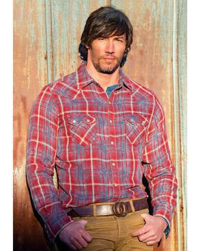 Ryan Michael Men's Double Face Barn Plaid Western Shirt, Indigo, hi-res