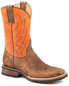Roper Men's Fireworks Western Boots - Square Toe, Brown, hi-res