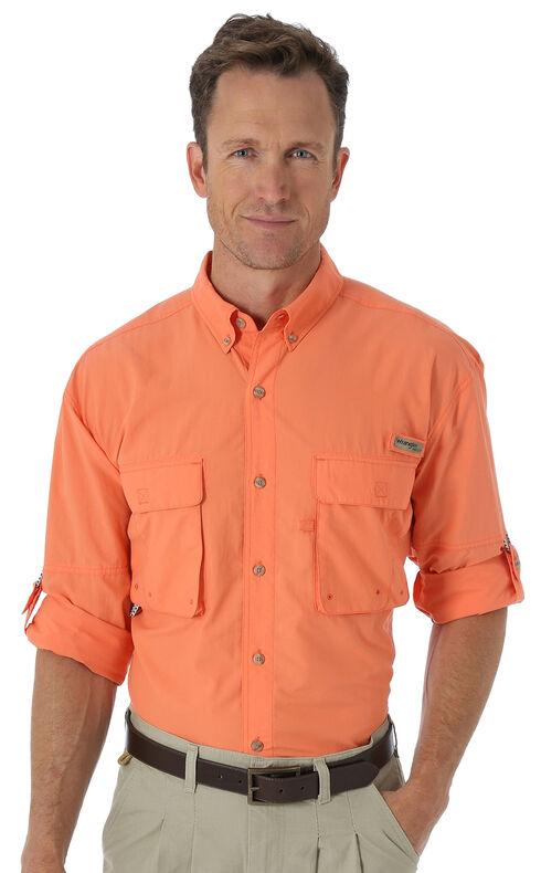 Wrangler Men's ProGear® Long Sleeve Angler Shirt, Orange, hi-res