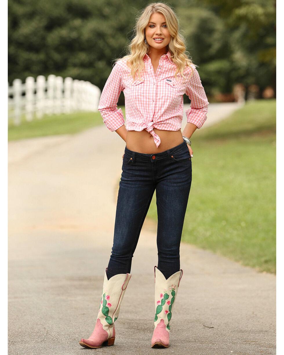 Wrangler Women's Pink Small Plaid Western Shirt , Pink, hi-res