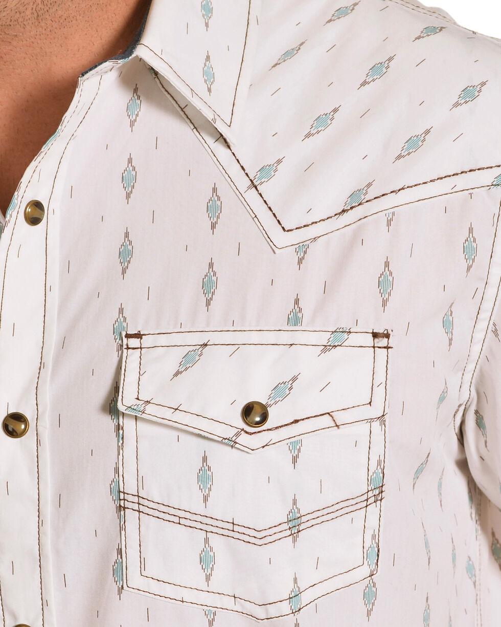 Cody James Men's Diamond Print Short Sleeve Western Snap Shirt, White, hi-res