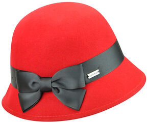 Betmar Women's Emma Cloche Hat , Red, hi-res