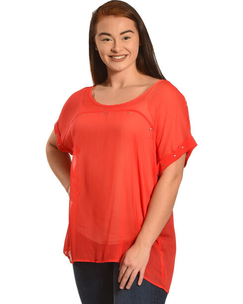 Eyeshadow Women's Red Chiffon Studded Top - Plus, Red, hi-res