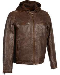 Milwaukee Leather Men's Zipper Front Leather Jacket w/ Removable Hood - Big - 5X, Brown, hi-res