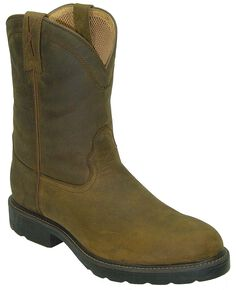 Twisted X Distressed Pull-On Work Boots - Round Toe, Brown, hi-res
