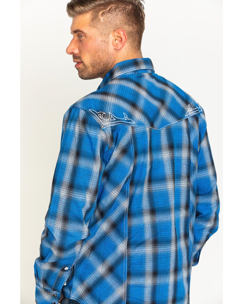 Wrangler Rock 47 Men's Plaid Two Pocket Snap Shirt, Blue, hi-res
