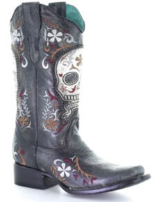 Corral Women's Black Skull Overlay Western Boots - Snip Toe, Black, hi-res