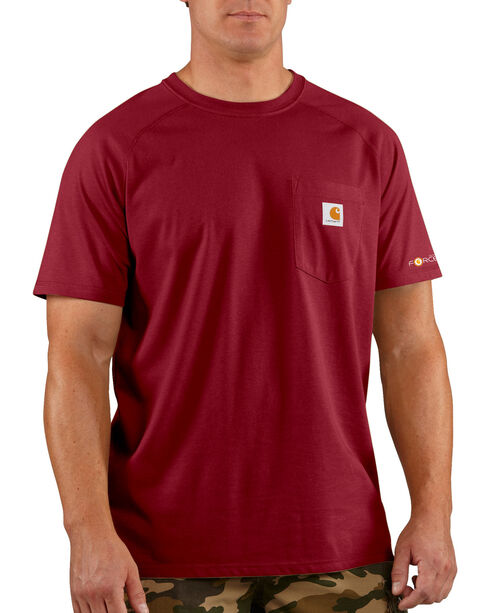 Carhartt Force Short Sleeve Work Shirt, Dark Red, hi-res