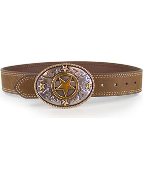 Cody James Boys' Tan Lonestar Buckle and Belt , Tan, hi-res