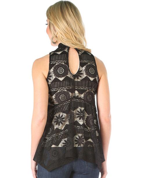 Wrangler Women's Black Sleeveless Mock Neck Lace Top , Black, hi-res
