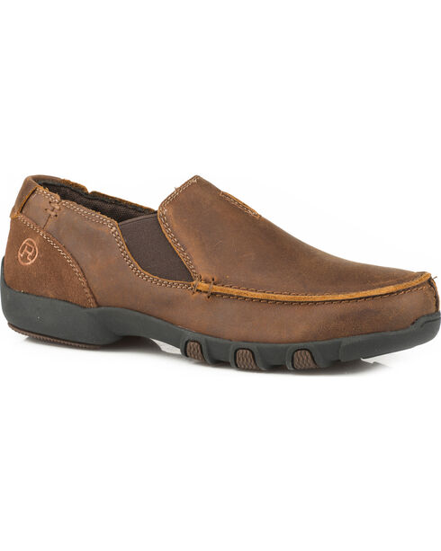 Roper Girls' Buzzy Vintage Brown Leather Driving Mocs - Moc Toe , Brown, hi-res