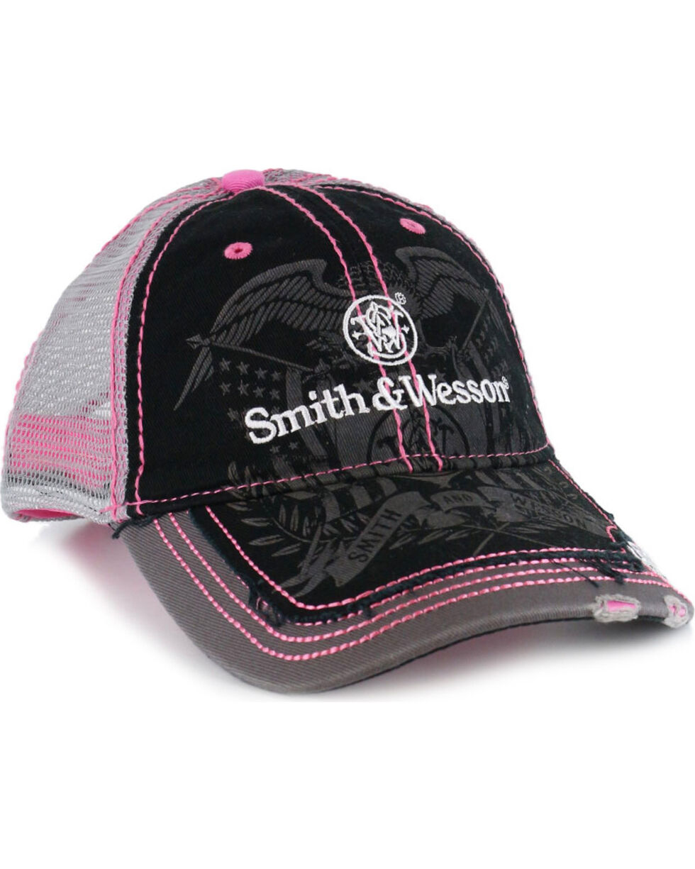 Smith & Wesson Women's Black Distressed Logo Trucker Ball Cap , Black, hi-res