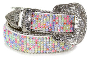 Shyanne Girls' Rhinestone Studded Belt, Multi, hi-res