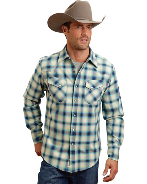 Stetson Men's Blue Ombre Plaid Long Sleeve Shirt , Blue, hi-res