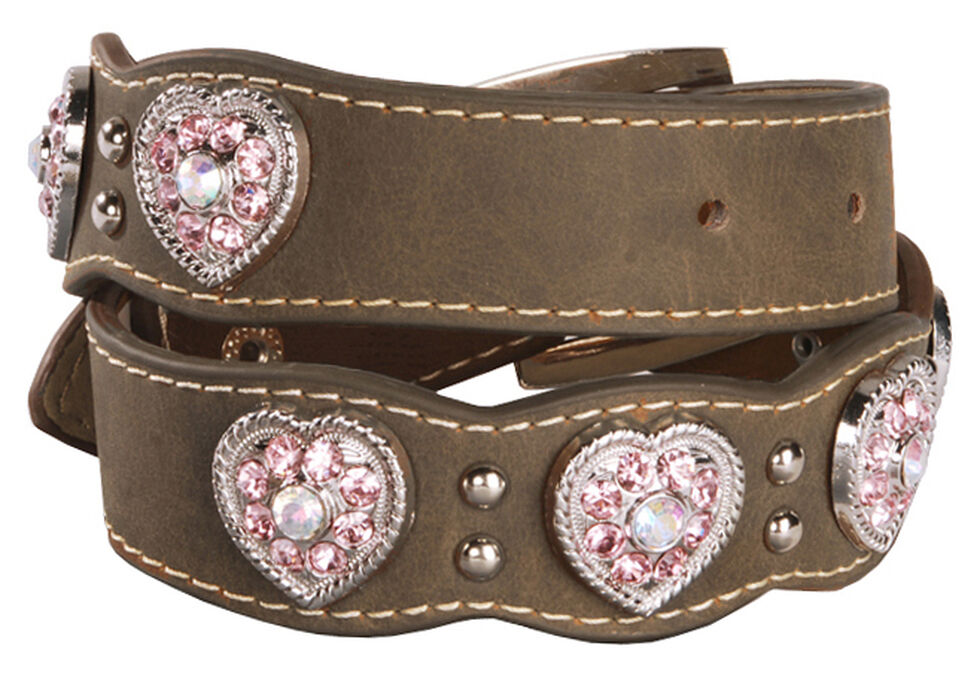 Nocona Girls' Pink Rhinestone Heart Belt - 18-28, Brown, hi-res