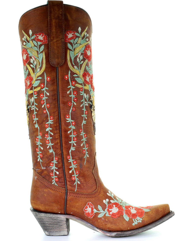 8aafaa38c78 Corral Women's Deer Skull & Floral Embroidery Cowgirl Boots - Snip Toe