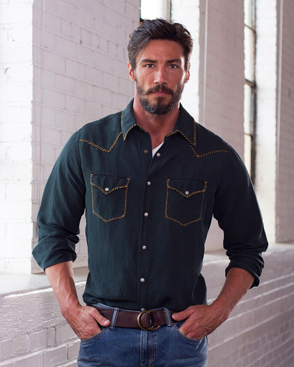 Ryan Michael Men's Black Whip Stitch Silk Shirt , Black, hi-res
