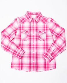 Panhandle Girls' White Label Plaid Long Sleeve Western Shirt , Pink, hi-res