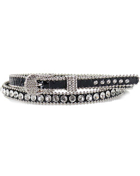 Shyanne Women's Thin Rhinestone Studded Belt, Black, hi-res