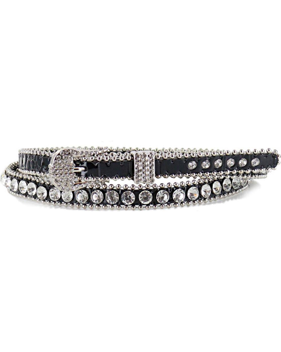 Shyanne Women's Thin Rhinestone Studded Belt, , hi-res