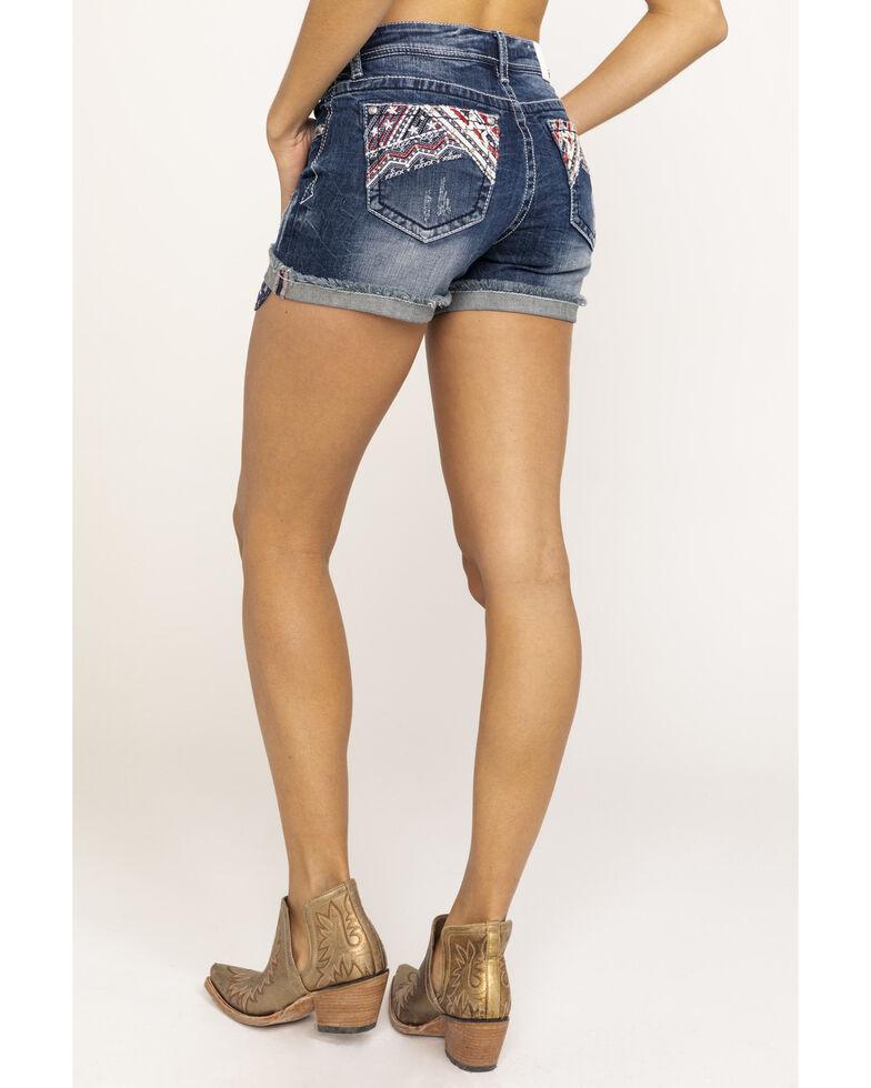 Grace in LA Women's Dark Wash Americana Shorts, Blue, hi-res