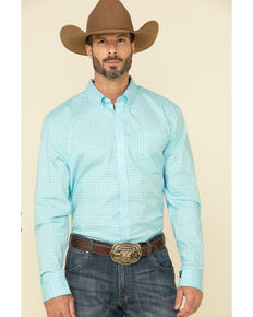 Cody James Core Men's Cloverleaf Geo Print Long Sleeve Western Shirt , Turquoise, hi-res