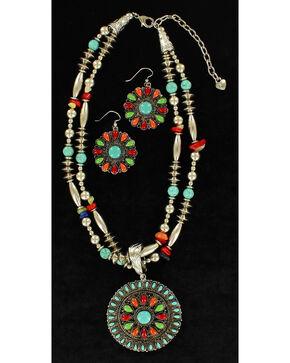Blazin Roxx Multi-Bead Round Pendant Necklace & Earrings Set, Multi, hi-res