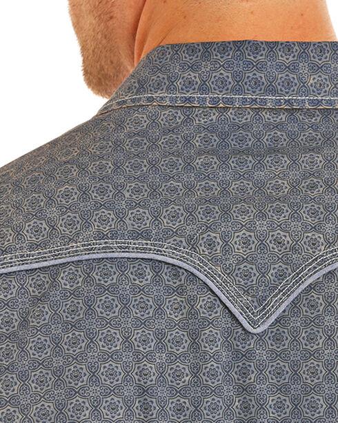 Rock & Roll Cowboy Men's Dark Blue Bleach Wash Print Shirt , Dark Blue, hi-res