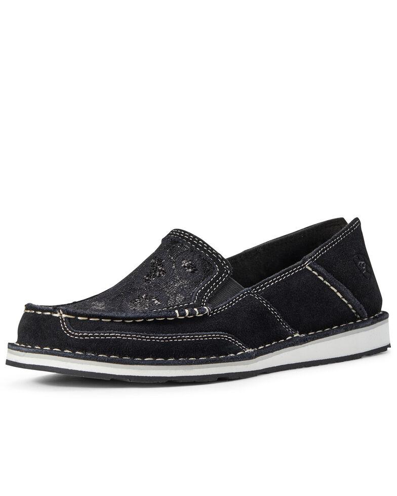 Ariat Women's Sequin Suede Cruiser Shoes - Moc Toe, Black, hi-res