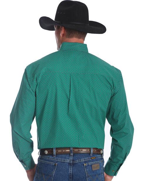 Wrangler Men's George Strait Green Print Long Sleeve Shirt - Big , Green, hi-res