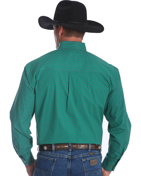 Wrangler Men's Green George Strait Long Sleeve Shirt , Green, hi-res
