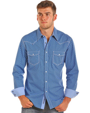 Rock & Roll Cowboy Men's Blue Diamond Print Western Shirt , Blue, hi-res