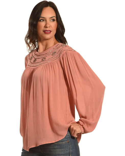 New Direction Women's Bead Embroidered Long Sleeve Top, Pink, hi-res