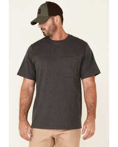 Hawx Men's Solid Charcoal Forge Short Sleeve Work Pocket T-Shirt - Big , Charcoal, hi-res