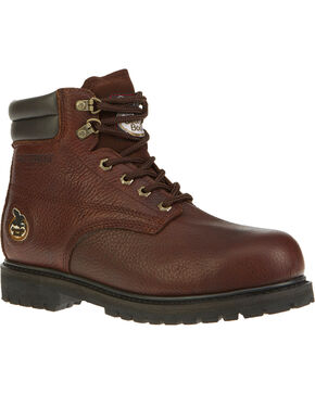 "Georgia Men's Brown Oiler Waterproof 6"" Work Boots - Steel Toe , Brown, hi-res"
