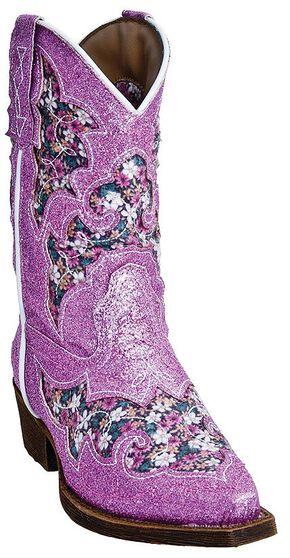 Laredo Girls' Glitterachi Cowgirl Boots - Snip Toe, Pink, hi-res
