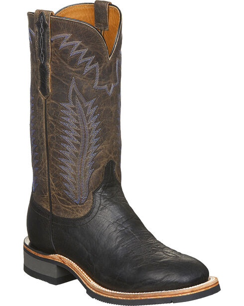 Lucchese Men's Handmade Wyatt Black Bull Shoulder Rubber Outsole Western Boots - Square Toe, Black, hi-res
