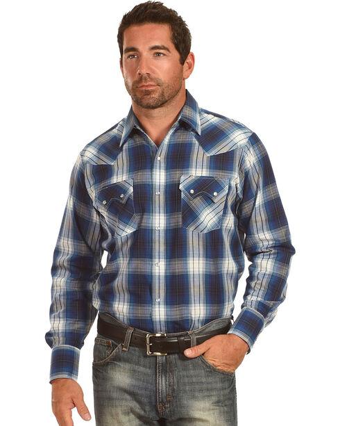 Ely Cattleman Men's Blue Textured Plaid Sawtooth Pockets Snap Shirt, Teal, hi-res