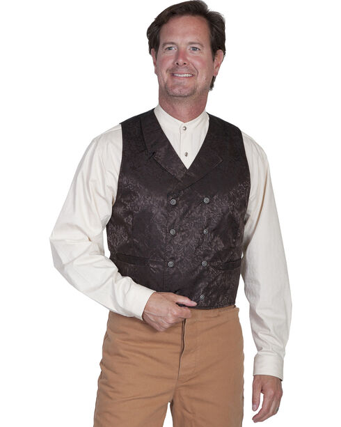 Wahmaker by Scully Floral Silk Double Breasted Vest, Chocolate, hi-res