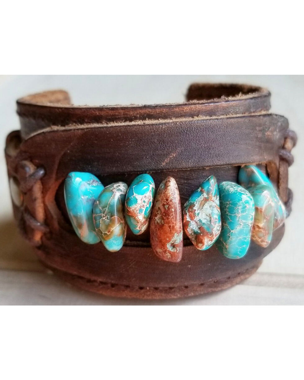 Jewelry Junkie Women's Turquoise Gemstone Leather Cuff , Turquoise, hi-res