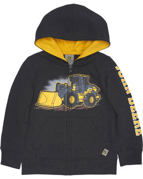 John Deere Toddler Boys' Black Construction Loader Hoodie , Black, hi-res