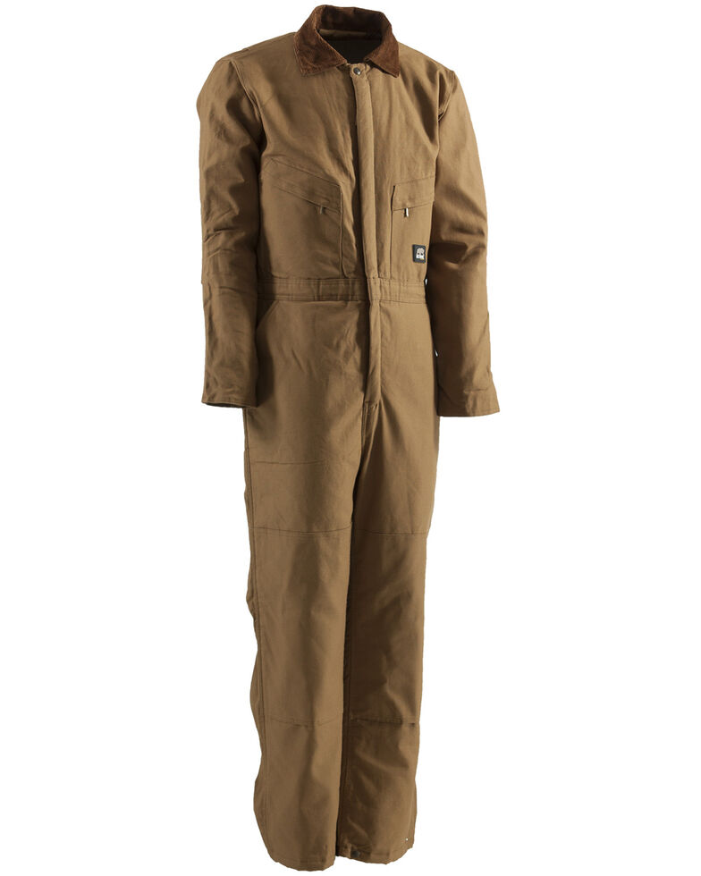 Berne Men's Duck Deluxe Insulated Coveralls - 3XL and 4XL, Brown, hi-res